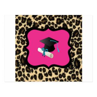 Graduation - Pink Leopard / Cheetah Post Cards