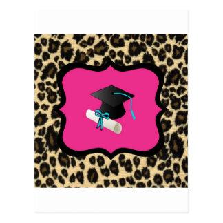 Graduation - Pink Leopard / Cheetah Post Card