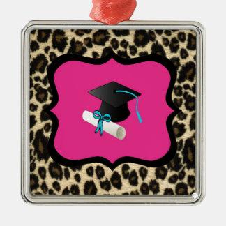 Graduation - Pink Leopard / Cheetah Square Metal Christmas Ornament