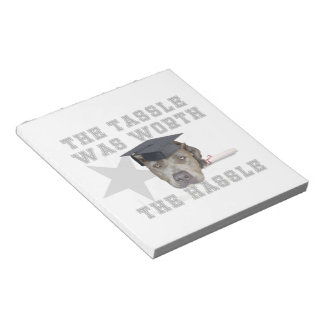 Graduation pitbull dog notepad