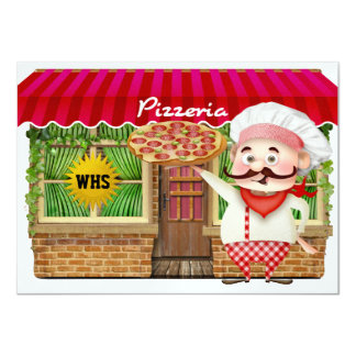 Graduation Pizza Party - SRF 4.5x6.25 Paper Invitation Card