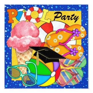 Graduation Pool Party - SRF 5.25x5.25 Square Paper Invitation Card