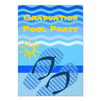 Graduation Pool Party Summer Blue Flip Flops 5x7 Paper Invitation Card