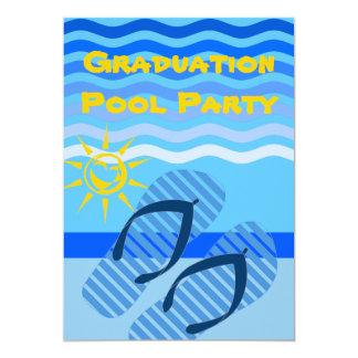 Graduation Pool Party Summer Blue Flip Flops 5x7 Paper Invitation Card