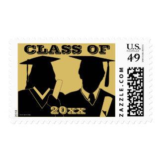 Graduation Postage Boy Girl Cap Gown Gold