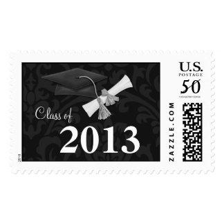 Graduation Postage Stamp Black Damask