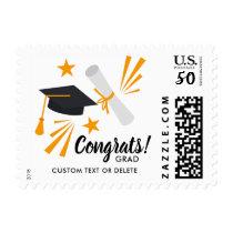 Graduation Postage Stamp Congrats Grad Cap Diploma