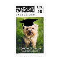 Graduation Postage Stamp   Your Dog Photo Grad Cap