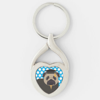 Graduation Pug on Blue Dotted Key Chain