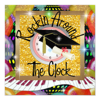Graduation Rockin' Around the Clock - SRF Invitati Card
