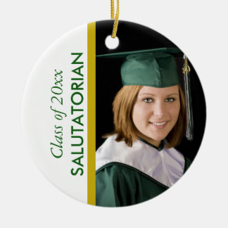 Graduation Salutatorian Green White Photo Ceramic Ornament