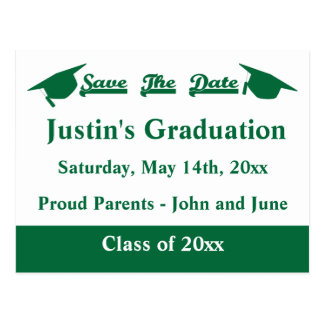 Graduation Save The Date Card Green