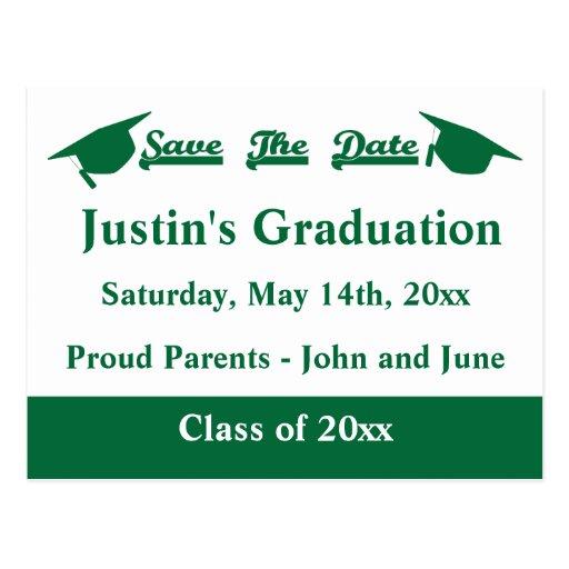 Graduation Save The Date Card Green Postcard