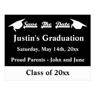 Graduation Save The Date Card White and Black