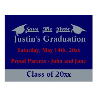 Graduation Save The Date Card With Silver