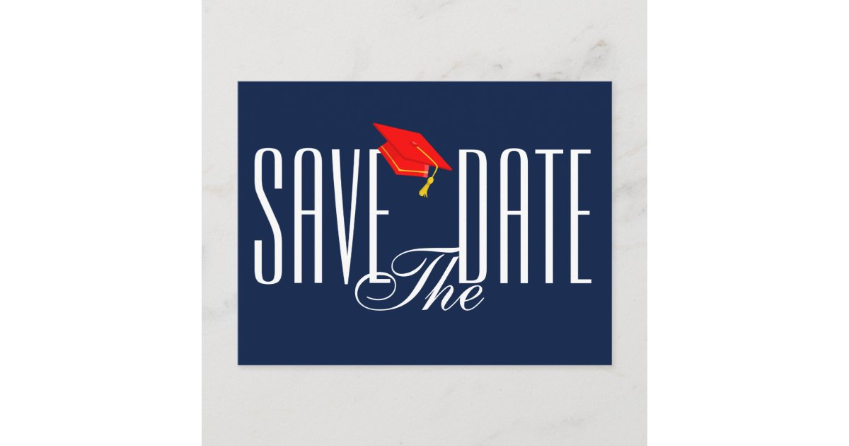 Graduation save the date postcard invitation zazzle filmwisefo