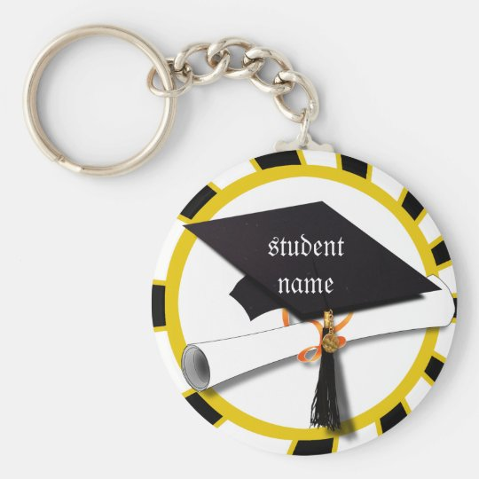 Graduation School Colors Black And Gold (ZOOM!) Keychain