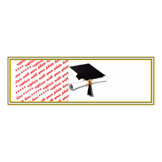 Graduation School Colors Black & Gold Frame Double-Sided Mini Business Cards (Pack Of 20)