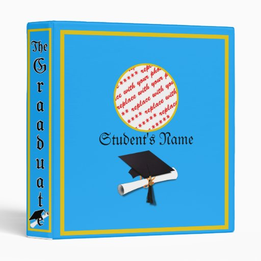 Graduation School Colors Blue And Gold 3 Ring Binders