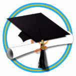 Graduation School Colors Blue And Gold Photo Cut Outs