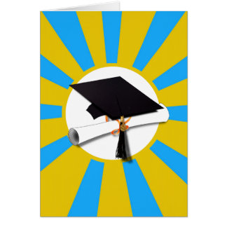 Graduation School Colors Blue And Gold (ZOOM!) Card