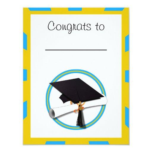 Graduation School Colors Blue And Gold (ZOOM!) Invitations