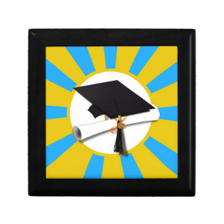 Graduation School Colors Blue And Gold (ZOOM!) Jewelry Box