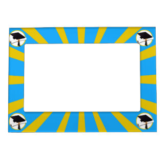 Graduation School Colors Blue And Gold (ZOOM!) Magnetic Picture Frame