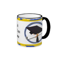 Graduation School Colors Blue And Gold (ZOOM!) Ringer Coffee Mug