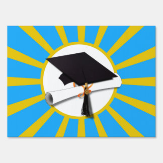 Graduation School Colors Blue And Gold (ZOOM!) Sign