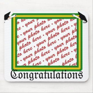 Graduation School Colors Green & Gold Frame Mouse Pad