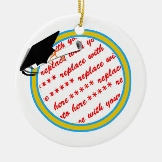 Graduation School Colors Lt. Blue& Gold Frame Ceramic Ornament