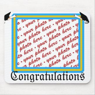 Graduation School Colors Lt. Blue& Gold Frame Mouse Pad