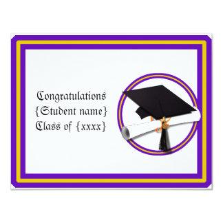 Graduation School Colors Purple and Gold Personalized Invite