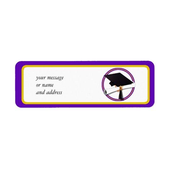 Graduation School Colors Purple and Gold Label