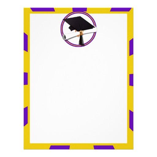 Graduation School Colors Purple and Gold (ZOOM!) Letterhead Template