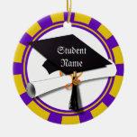 Graduation School Colors Purple and Gold (ZOOM!) Ornaments