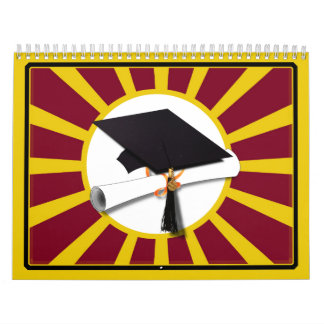 Graduation School Colors Red And Gold (ZOOM!) Calendar