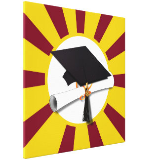 Graduation School Colors Red And Gold (ZOOM!) Canvas Print