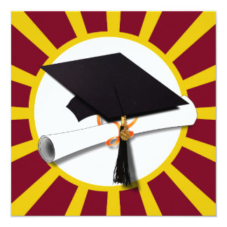 Graduation School Colors Red And Gold (ZOOM!) Card
