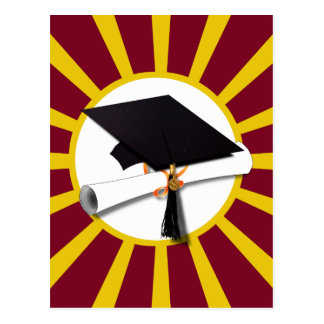Graduation School Colors Red And Gold (ZOOM!) Postcard