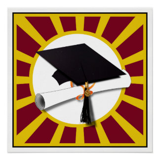 Graduation School Colors Red And Gold (ZOOM!) Poster