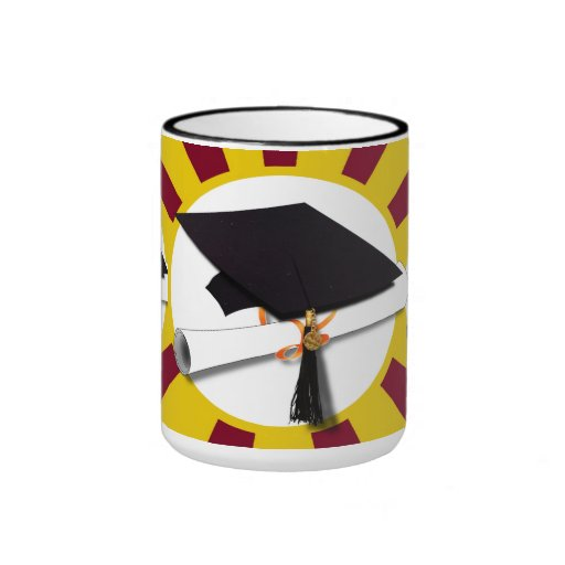 Graduation School Colors Red And Gold (ZOOM!) Ringer Coffee Mug