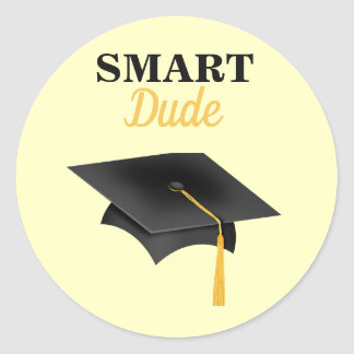 Graduation Smart Dude Classic Round Sticker