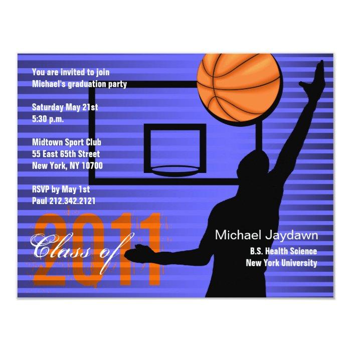 Graduation Sport Party Invitation Basketball