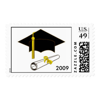 Graduation Stamp with Cap and Diploma Gold Accents