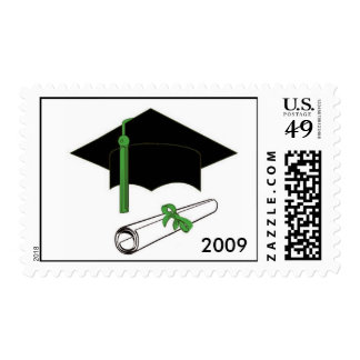 Graduation Stamp with Cap and Diploma Green Accent