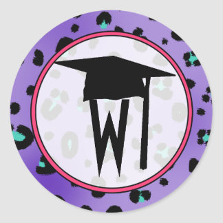 Graduation Sticker - Purple Leopard Monogram