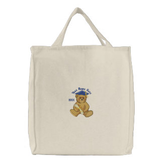 Graduation Teddy Bear Embroidered Tote Bag