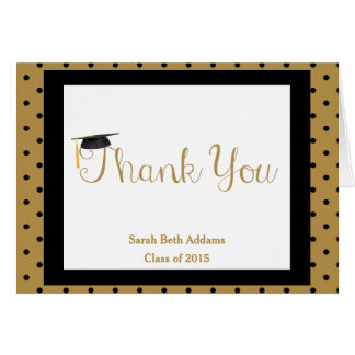 Graduation Thank You, Black & Gold, Add Name/Year Greeting Card
